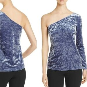 Bloomingdales Velvet Icy Blue One Sleeve Sexy Top